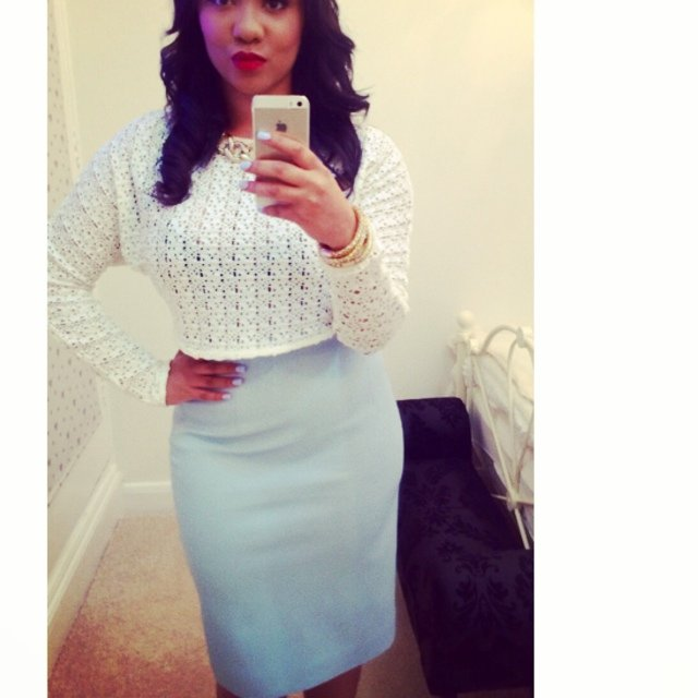 96fe801560 @monique_ama. 5 years ago. London, UK. Zara faux leather baby blue pencil  skirt size M worn once