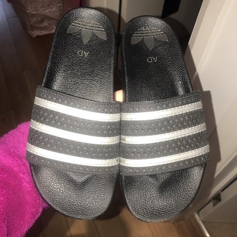 825ad40b64b5 PERSONALISED ADIDAS SLIDERS BLACK AND SILVER! Paid £40 for 7 - Depop