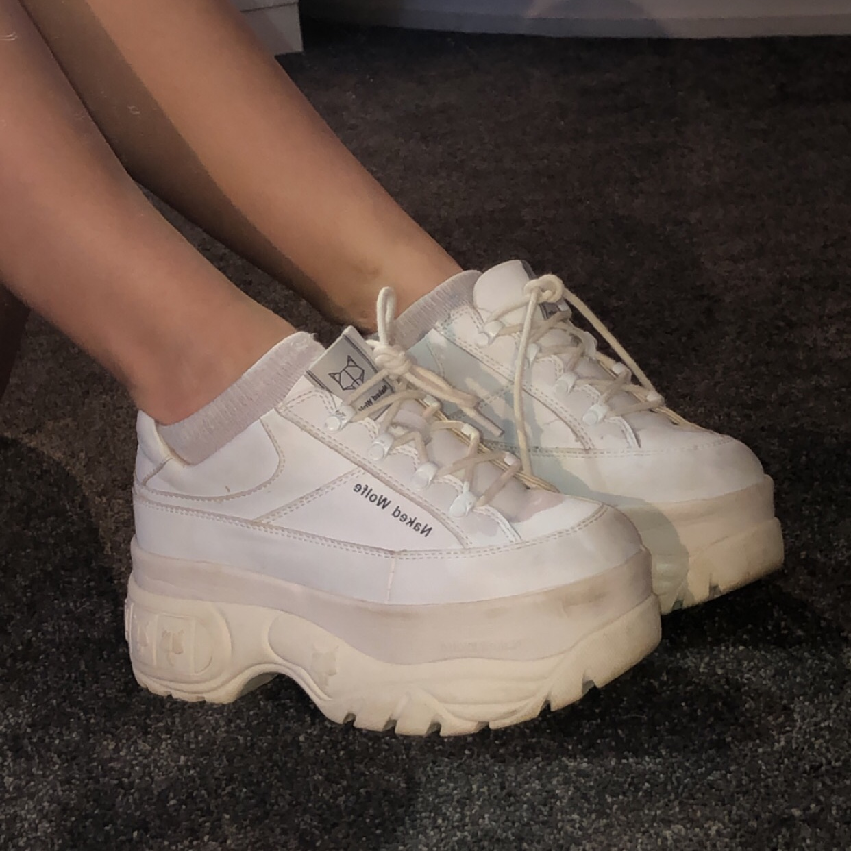 Sporty white naked Wolfe's! Made with