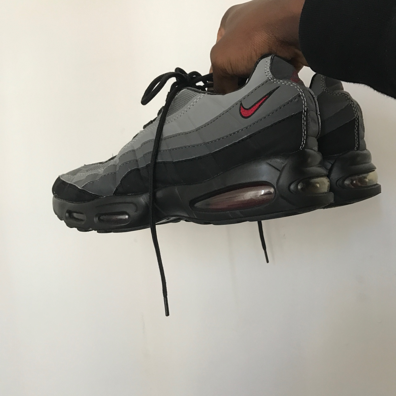 presenting 2018 shoes detailed look Black & Grey Nike Air Max 95 size 9 for sale. Apart... - Depop