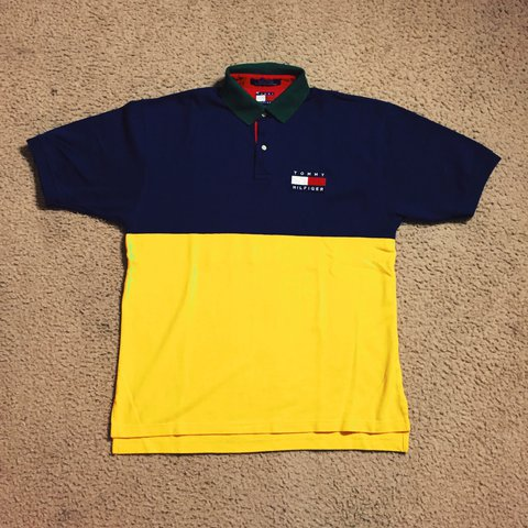 49539c5f7 @fromthebasement. last year. Atlanta, GA, USA. TOMMY HILFIGER COLORBLOCK  POLO SIZE: Large CONDITION: Great