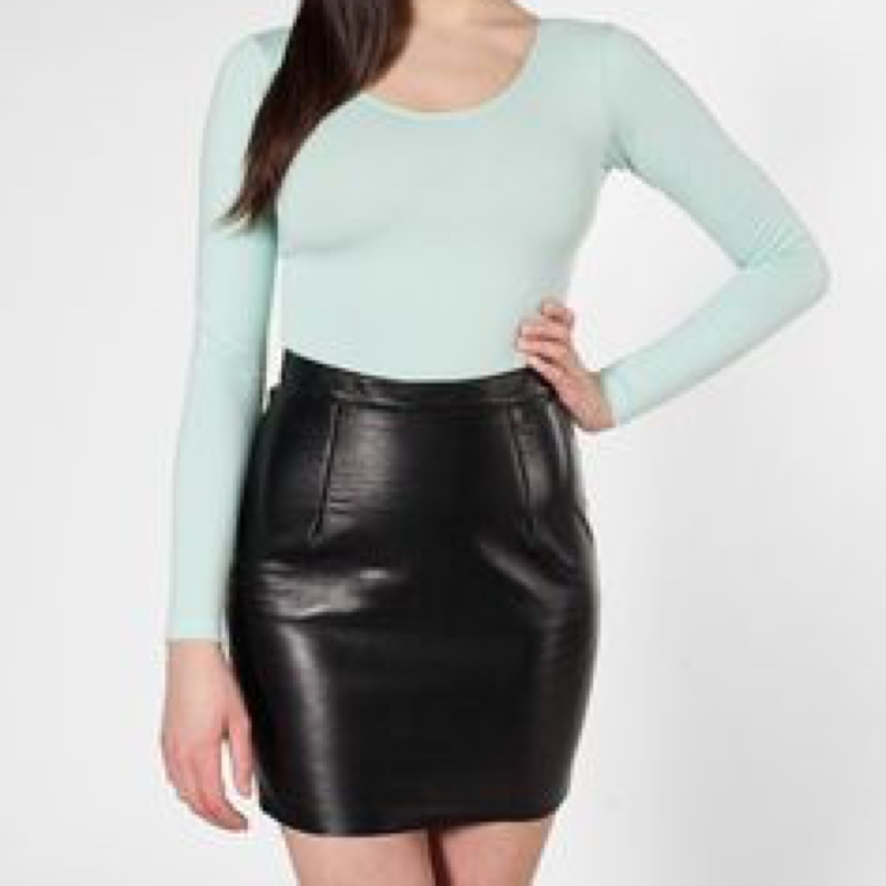 detailed look big selection save off NEW American Apparel leather mini skirt, size small,... - Depop