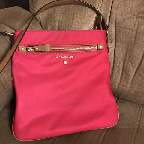 a233e8cb31d7 Michael Kors crossbody bag. Bright pink color with brown and - Depop