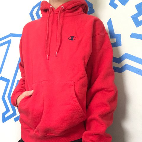 db4ecca123b4 RED CHAMPION HOODIE The Red and Black Eco color way isn t i - Depop