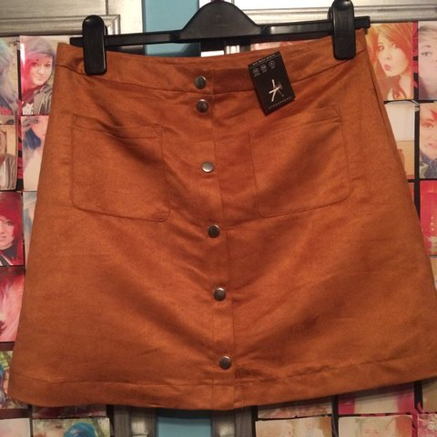 acf1882473 Brand new with tags primark a line faux suede skirt button - Depop