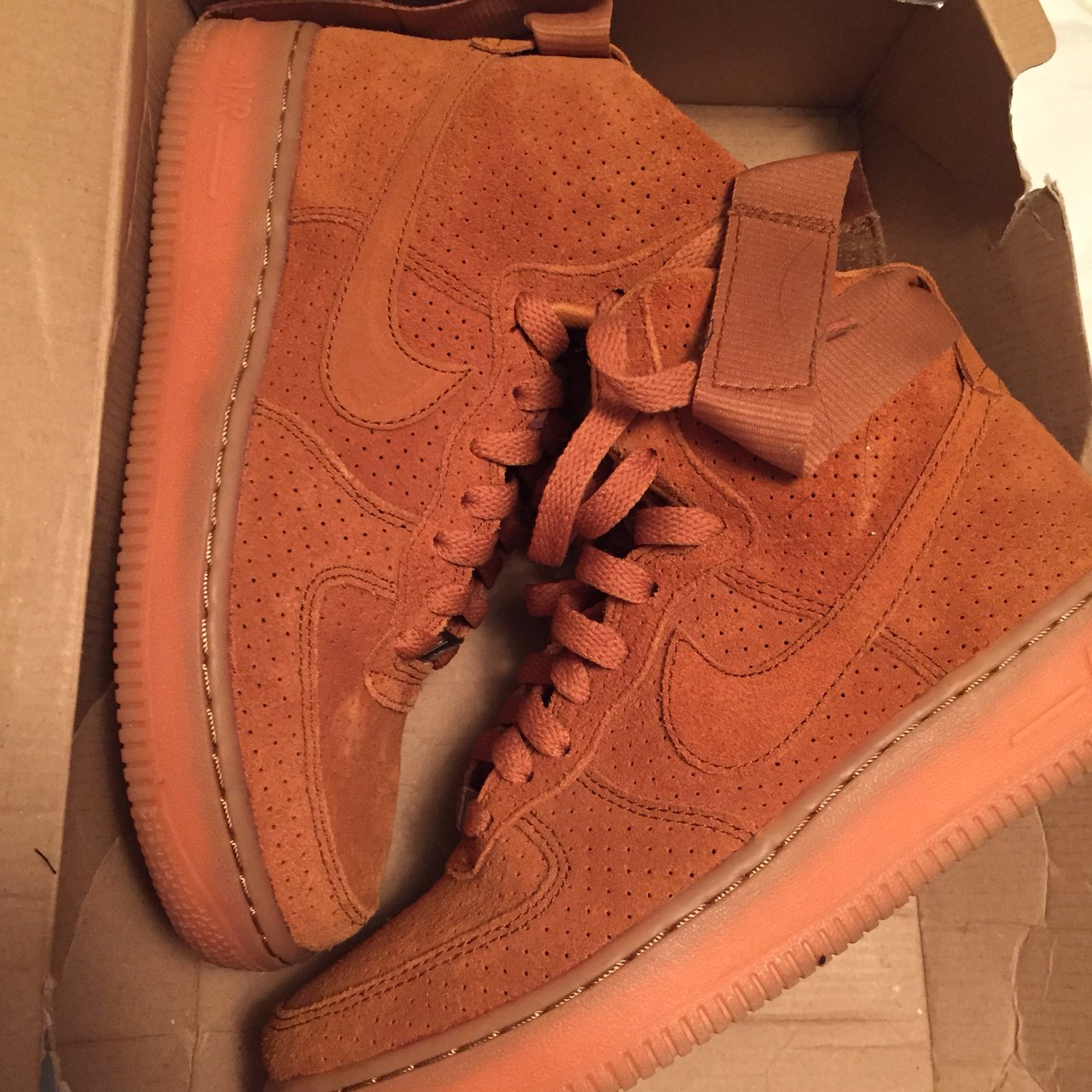 NIKE SUEDE AIR FORCE 1s HIGH TAWNY GUM WHEAT WOMENS US - Depop 9766e806e