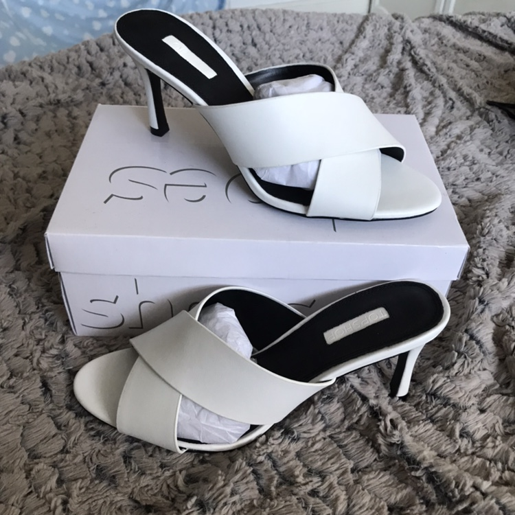 Topshop white cross over heeled mules