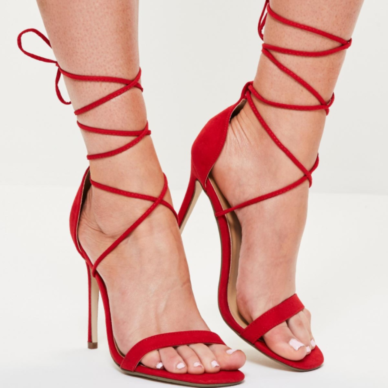 MISSGUIDED red strappy lace up heels