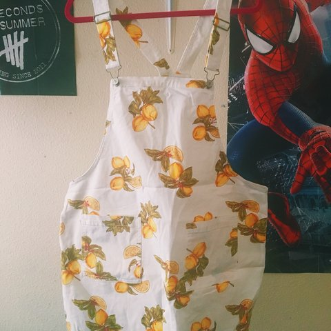 3a210d6606 forever 21 yellow and white lemon dungaree dress from the a - Depop
