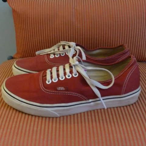 43e3c88da99 Vans Off The Wall burgundy red canvas lace up skate shoes   - Depop