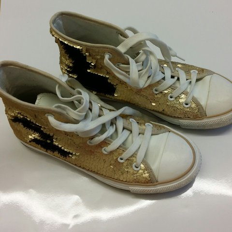 c8a3fb567168 Black and gold converse style sequin shoes (could be all the - Depop