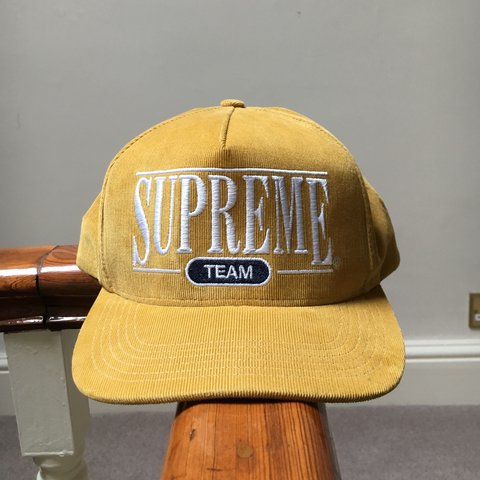 22a2040ff44 supreme- supreme team 5 panel hat In mustard gold Trades or - Depop