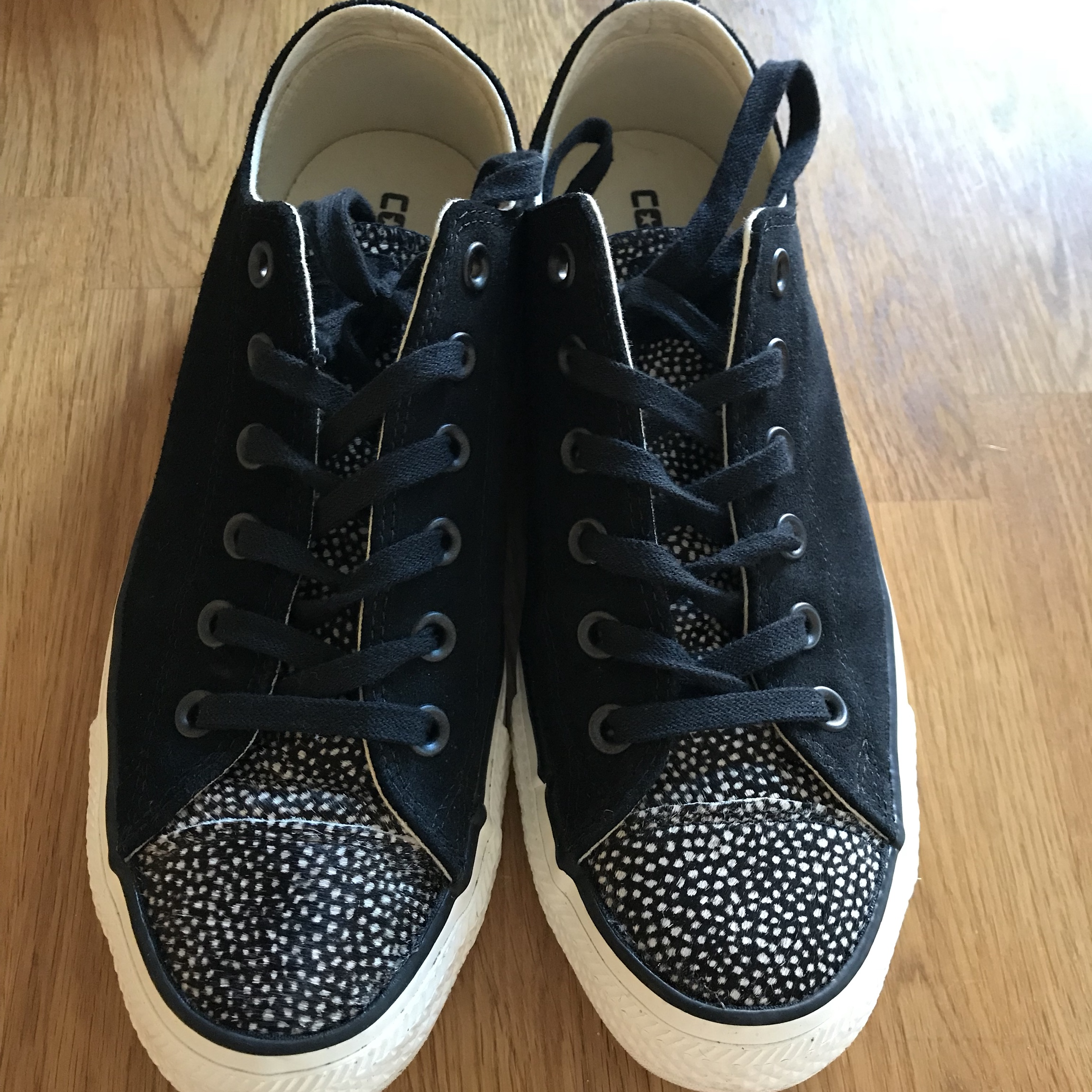 095cdb83b6 Converse all star black suede trainers with animal... - Depop