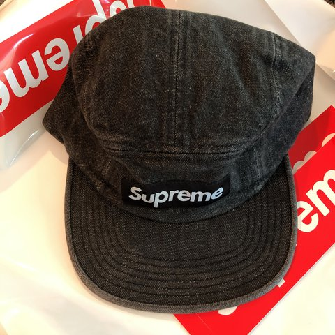b71f93f7ee2 Supreme Denim Camp Cap Black brand new free supreme stickers - Depop