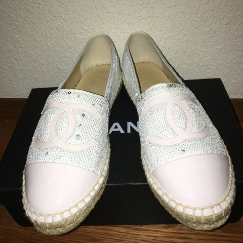 1b6cbe5d234f09 Chanel white sequin espadrille NIB 7.5 don't want anymore to - Depop