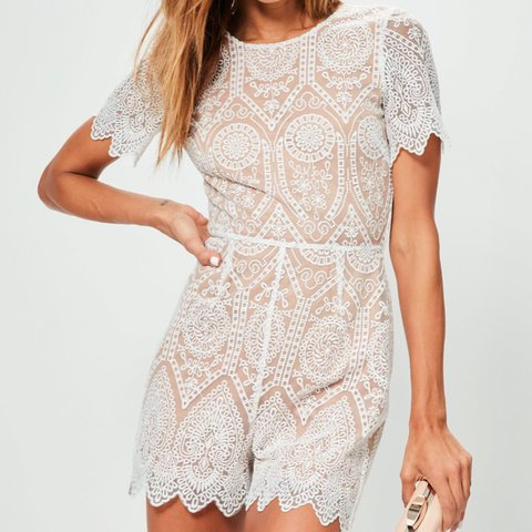 7117508b455 Missguided White Nude Lace Playsuit Only worn once for a plt - Depop