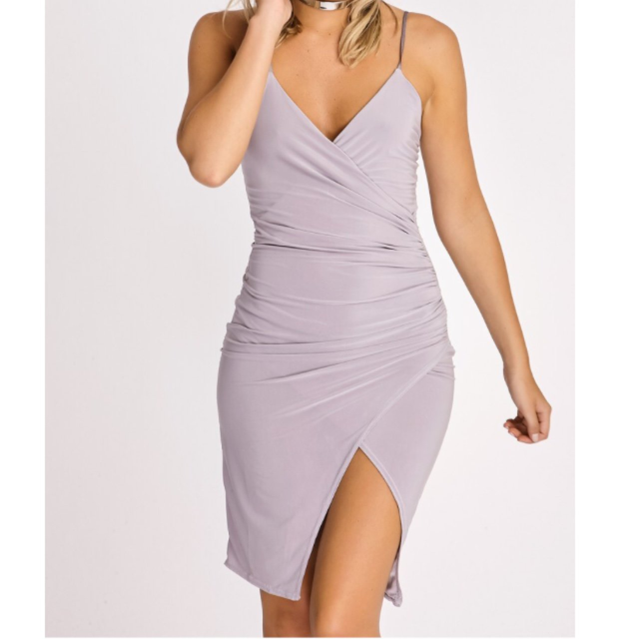e2a88f3bb776 In The Style Grey silky slinky cross over dress. Never worn