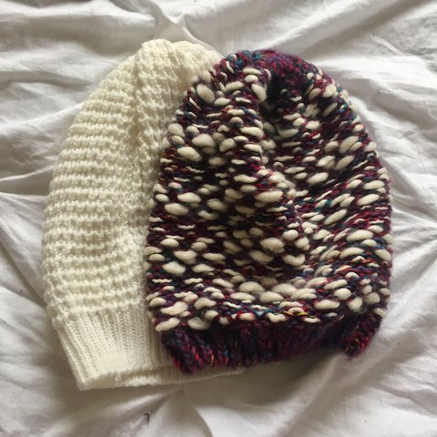d9d18816f69 BEANIE BUNDLE  left  cream knit slouchy beanie from target  - Depop
