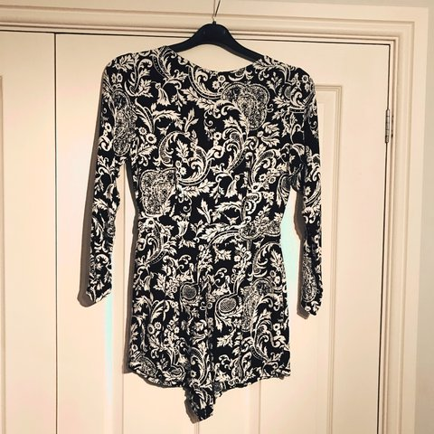 10959b232ab ASOS paisley black and white playsuit. will fit size 6-8♥ 🖤 - Depop
