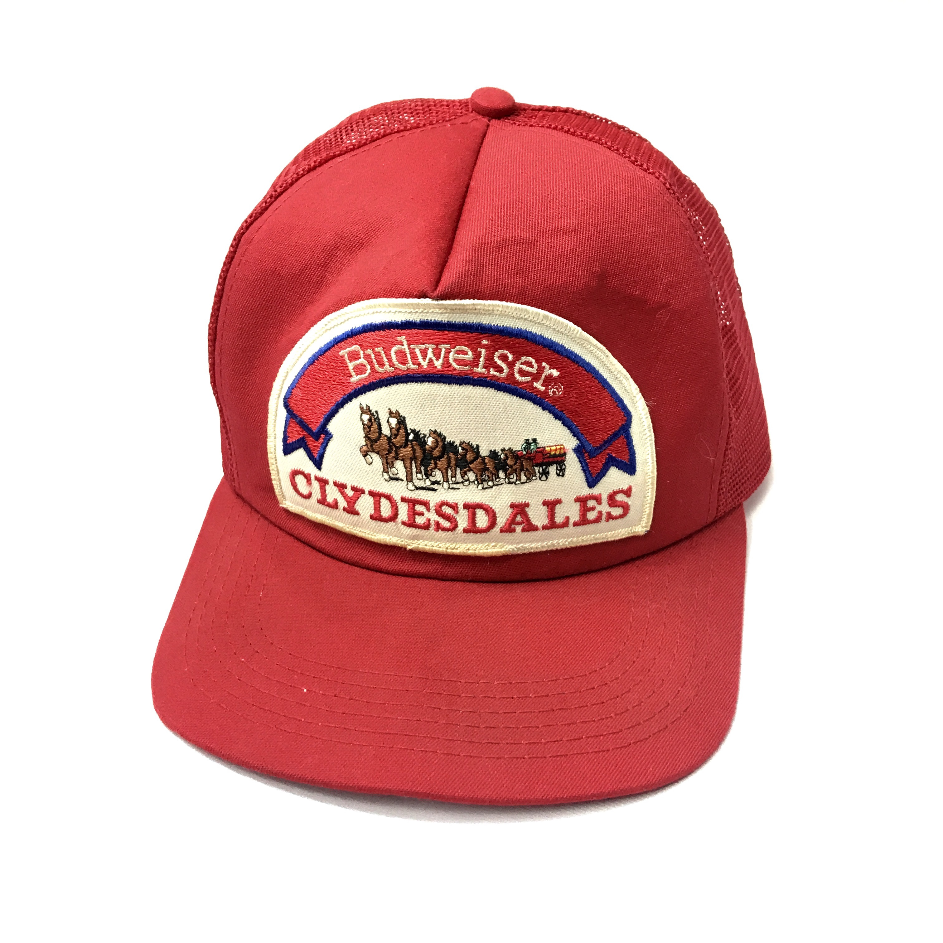 d619cea416a Vintage Budweiser Clydesdales Mesh Truckers Snapback some - Depop
