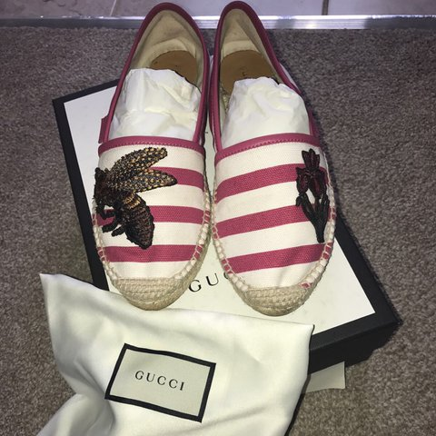 81d85608c91 Gucci espadrilles red and white stripped size 37 4 brand new - Depop