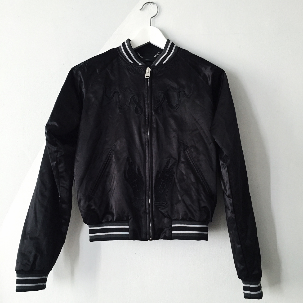 DIESEL satin bomber jacket featuring an embroided    - Depop
