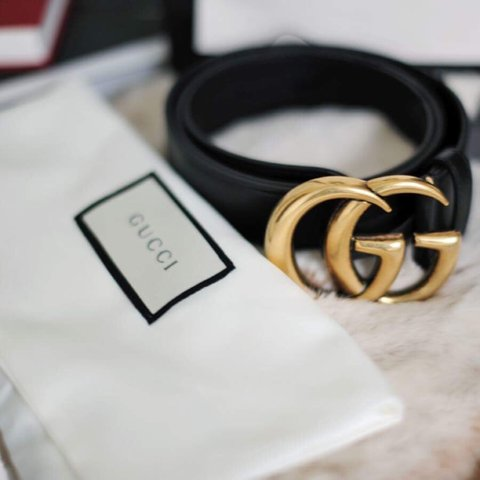 346ddf48f @alicezielasko. 3 years ago. London, UK. GUCCI leather belt with double G  gold buckle.
