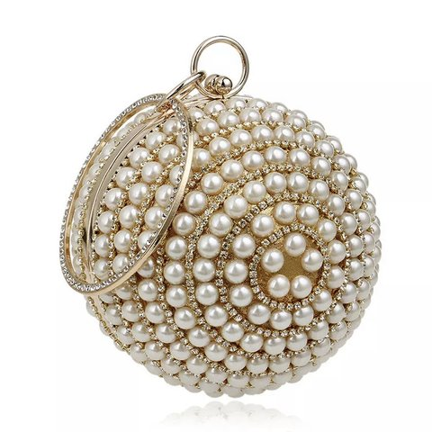 5f9716426a Diamonte pearl ball clutch bag. One size. Used once for a - Depop