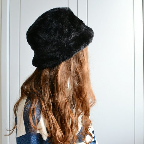 d61190daf704c Vintage black faux fur bucket hat ❄ FREE UK postage - Depop