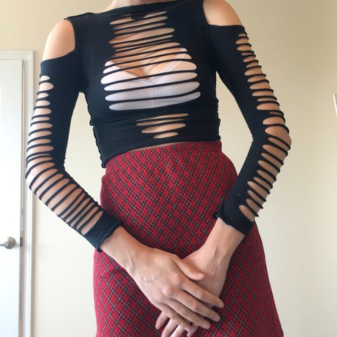 30fe2f71e077b Vintage 90s goth crop top. With cut outs all over. You can o - Depop