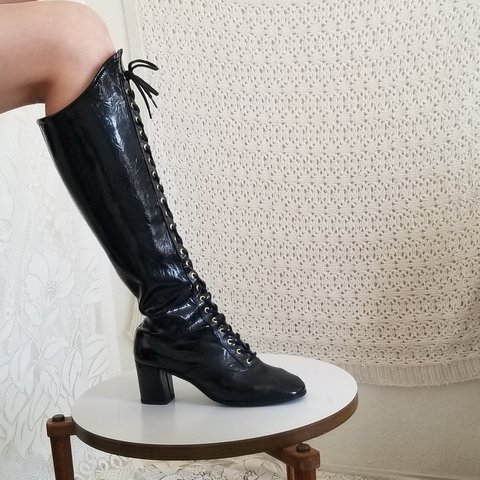 515c8c2f7e6 Patent Leather Knee High Lace-up Boots Era  1960s Brand  are - Depop