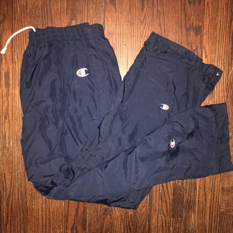 5981598476 NAVY BLUE CHAMPION TEAR AWAY PANTS! ORIGINAL PRICE:unknown - Depop