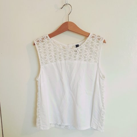 White Flower Crop Top From Hm Satin And Lace Material It Depop