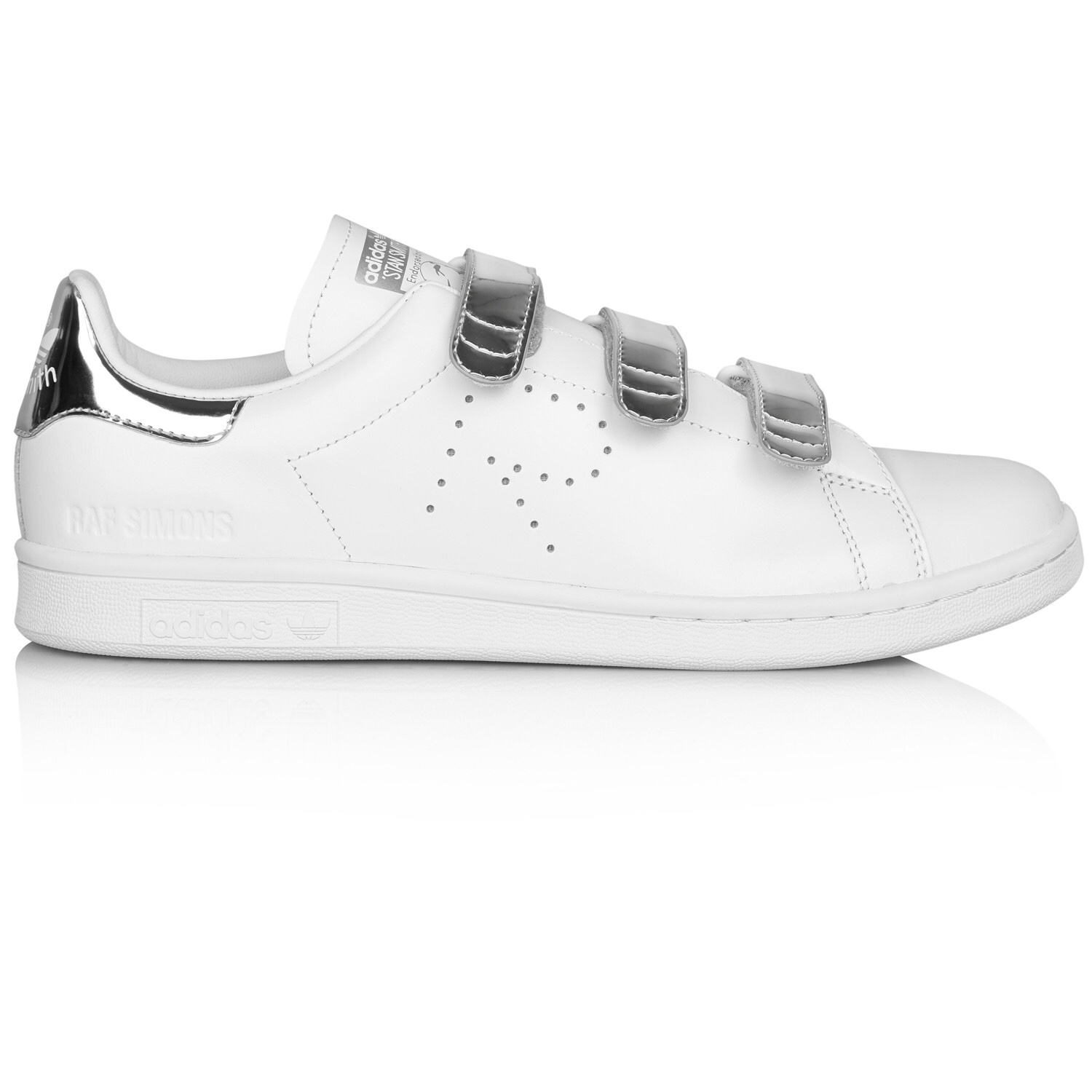 sale retailer c170c ddfc8 adidas x raf simons stan smith white and silver... - Depop