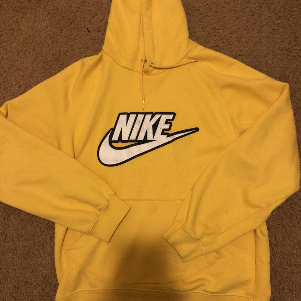 30ec5625a4bb 00s Vintage Yellow Nike Hoodie Tagged a large but fits a is - Depop