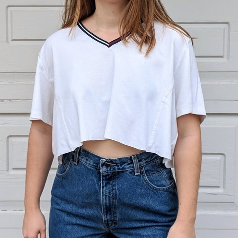 c43558258b5 @beatakrupa. 6 months ago. Champaign, United States. Crop Tommy Hilfiger White  Oversized Top.