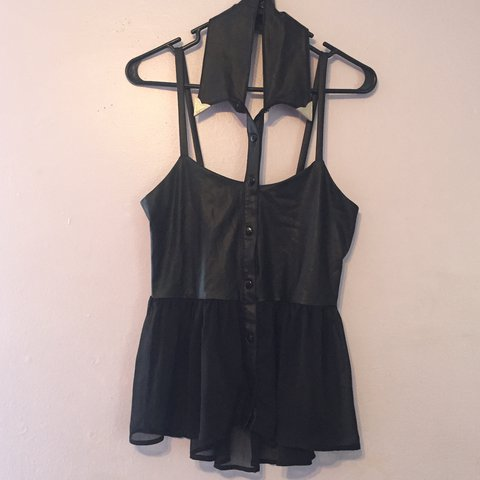 86ce1b8a Black leather (pleather) and sheer button up sleeveless top - Depop