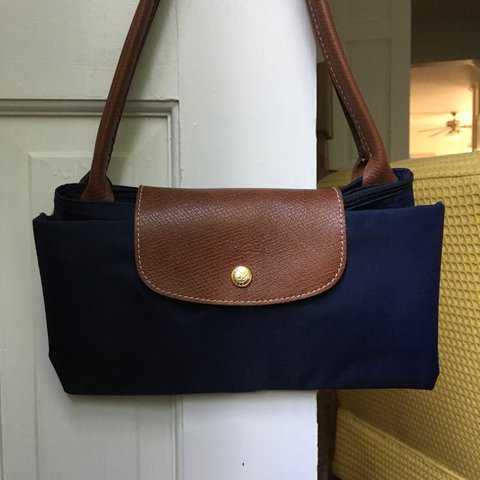 9809276fda96 classic Longchamp Le Pliage tote bag in navy.  large  size x - Depop