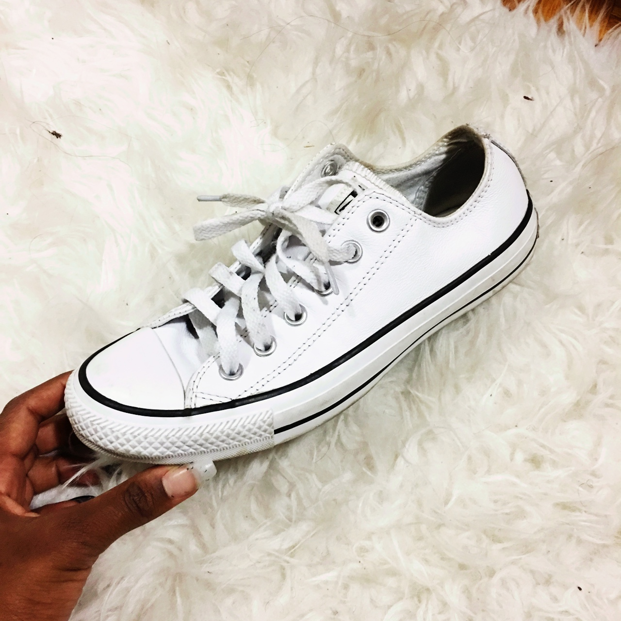 White leather converse shoes! Worn a couple times Depop