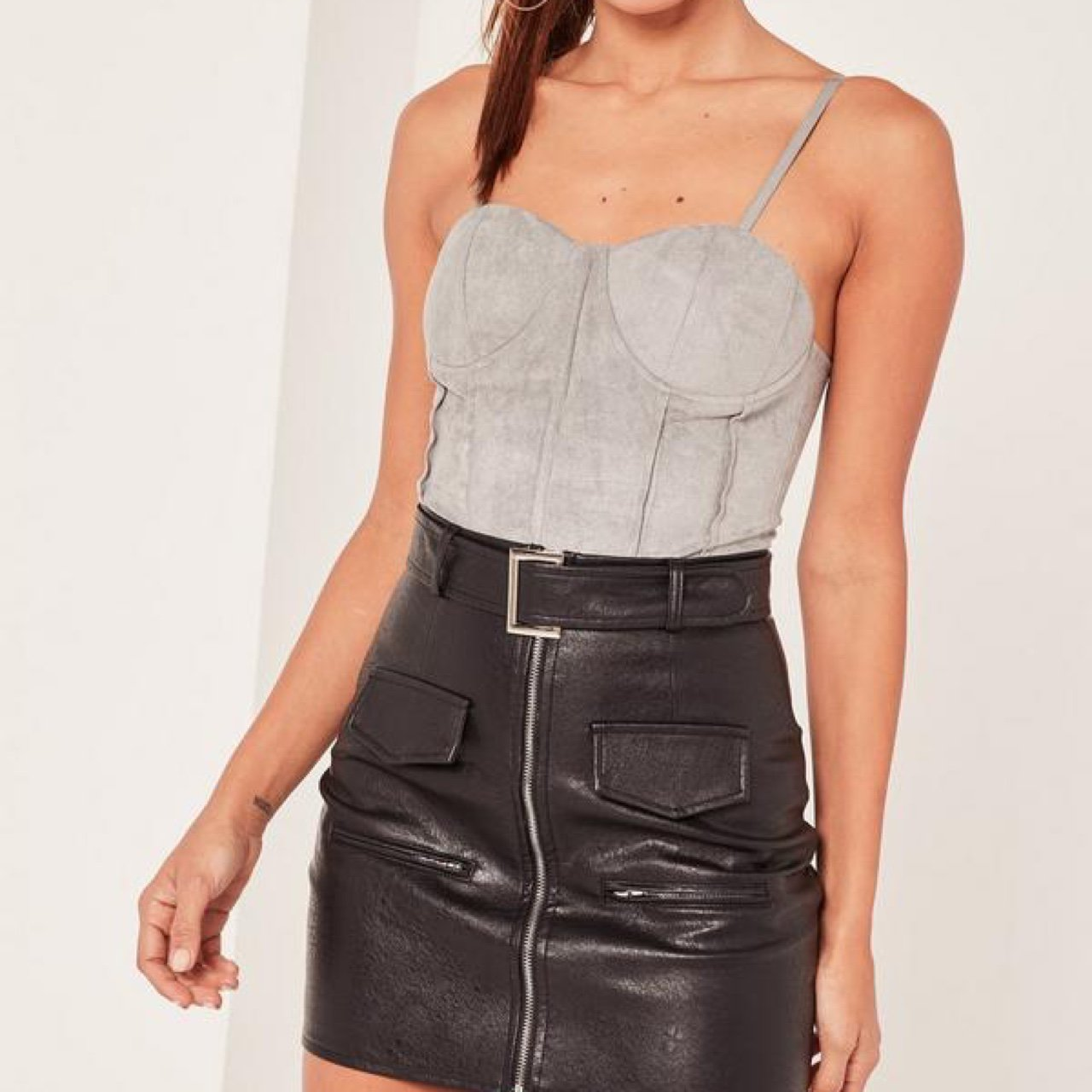 Grey suede bodice-style bodysuit 😍from Missguided Brand new - Depop 7affeb9c0
