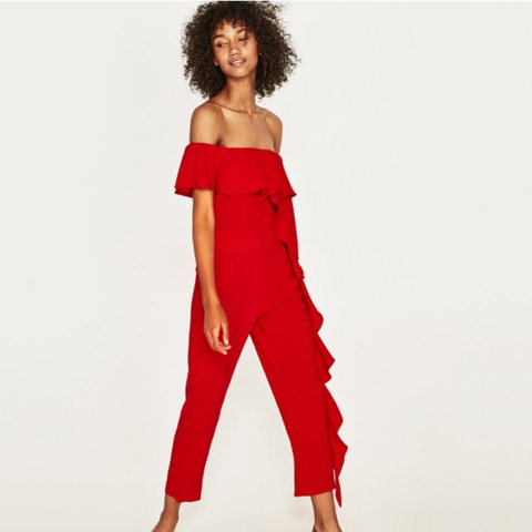 f11c4303 Zara New in red frilled jumpsuit size Large jumpsuit will a - Depop