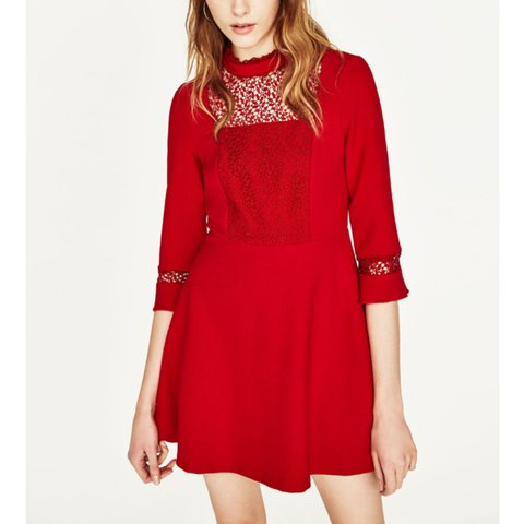 755981a6b0 @nicholaa_marie. 3 months ago. London, United Kingdom. Zara Red Lace Skater Dress  best fits a size ...
