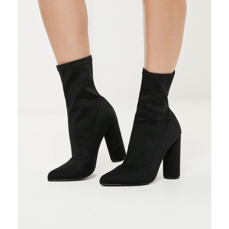 Missguided sock heeled ankle boots in