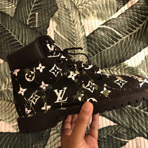 794ef656f399 Custom painted louis vuitton camo Timberland boots size 6 no - Depop