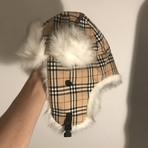 f9bd84cdde204 Lookalike Burberry fluffy winter hat with nova print Size a - Depop
