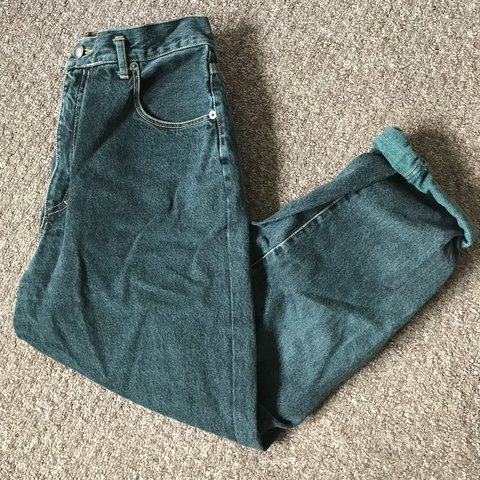 e6fc1e7fe080 @kisamaba. 11 months ago. Northampton, United Kingdom. Vintage High Waisted  Green Mom Mum Boyfriend Jeans Great quality and condition