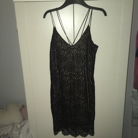 5a4144309f7 Black lacy dress with nude insert from topshop