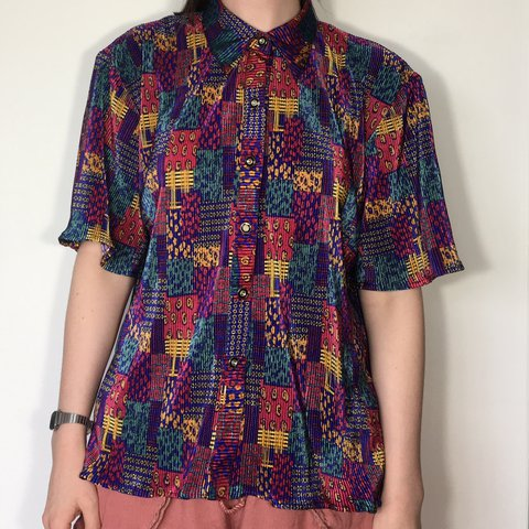 695af27697 Women s tribal print blouse. Short sleeved