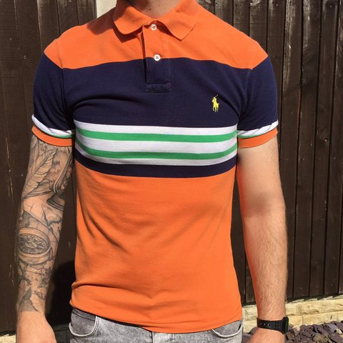 64b55604686 @mermaid_rocks. 11 months ago. Leeds, United Kingdom. Orange stripy Polo  Ralph Lauren shirt.