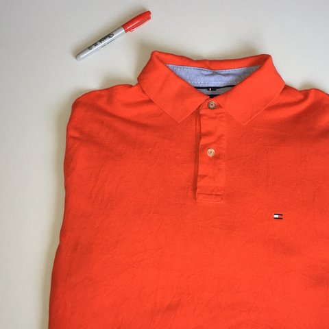 1a876181 Bright red TOMMY HILFIGER Polo shirt. Features classic TH 2 - Depop